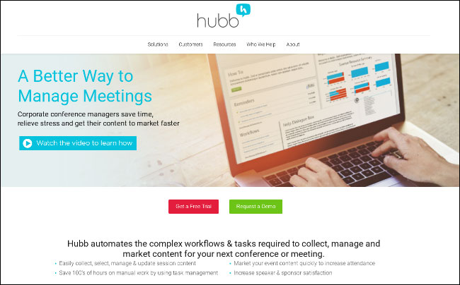 Hubb is a Cvent competitor for organizing meetings and events.