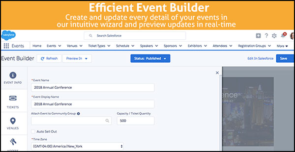 Fonteva Events makes Salesforce event registration smoother by allowing you to customize every aspect of the event in one easy event builder.