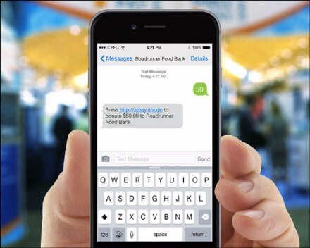 With @Pay's text-to-give tool, donors can text the amount the want to give to start the donation process.